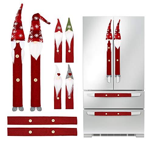 Christmas Decorations Gnomes Refrigerator Handle Covers Set of 8PCS, Christmas Kitchen Decor Appliance Handle...