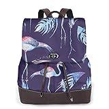 Yuanmeiju Womens Rucksack Backpack Flamingo Bird On Background Shoulder Bookbag Leather Laptop Bag Girls