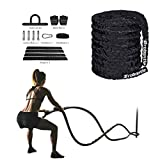 Brobantle 30ft Batlle Rope Workout Equipment Gym Fitness Equipment for home Workouts Exercise Training Rope Heavy Weighted Rope for Strength Training Home Gym Outdoor
