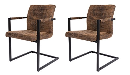 SAM® 2er Set Esszimmerstuhl Stoff Wildlederoptik Parzivo, Stuhl mit Armlehnen, Schwingstuhl mit Eisen-Fuß …