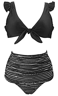 Fast Ship(FBA):Fulfilled by Amazon with two-day Shipping(Ship from USA) Hand wash cold, line dry;Polyester Spandex Swimsuit Fabric Pattern:Tie Front Ruffle Floral Fling High Waisted Shirred Slightly High Cut Bikini Set Tie Front Ruffle Top with Remov...