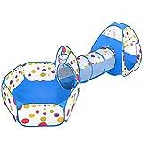 MAIKEHIGH 3 en 1 Pop-up Tente avec Tunnel pour Enfant, Tente a Balle avec Tunnel...