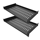 Jingchengmei (2 Pack) 1U Vented Server Rack Mount Shelf - 10in Deep Steel Universal Cantilever Tray for 19-Inch AV and Network Equipment Rack - 44lbs Disassembled for Safety