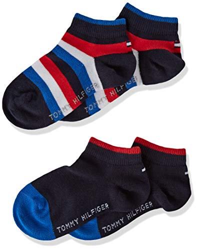 Tommy HilfigerTH Bambini Basic Stripe Quarter 2P A Righe Polpaccio Calze, ragazza Ragazzi, blue - navy, 23-26
