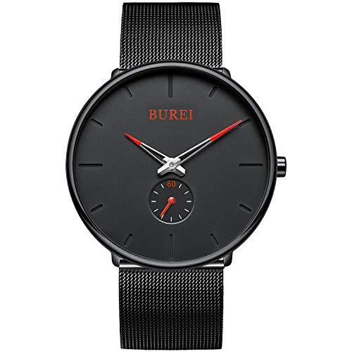 BUREI Uhren Herren Analog Quarz Armbanduhr mit Edelstahlarmband für Herrenuhr Ultradünne Schwarze Uhr Herren Wasserdicht(Rot)