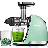 Slow Juicer,AMZCHEF Slow Masticating Juicer Extractor Professional Machine with Quiet Motor/Reverse Function,Cold Press Juicer with Brush,for High Nutrient Fruit & Vegetable Juice (Mint Green)