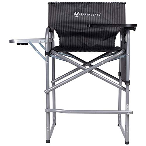 EARTH&SKYE Tall Director Chair Foldable Director Chair Bar Height | Makeup Chair for Artists Portable | Durable Steel Frame with Oxford Fabric – Supports 300 lbs