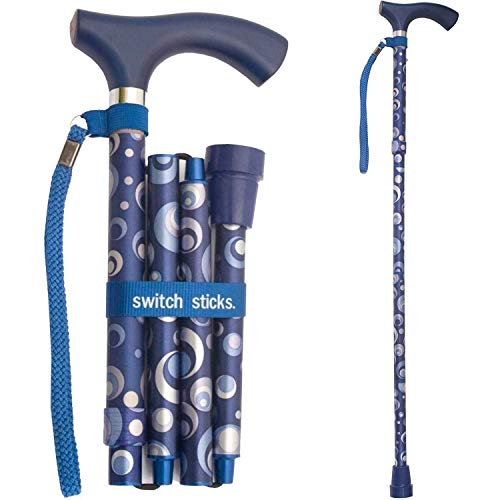 Switch Sticks Aluminum Adjustable Folding Cane and Walking Stick collapses and adjusts from 32 to 37 inches, Ocean