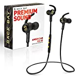 Back Bay American EQ-35 Bluetooth Earphones. Sweatproof Wireless Earbuds [2020 Update] with Hi-Fi Stereo Sound, 8-Hour Battery, Microphone, Magnet, in-Ear Headhones and Carrying Bag