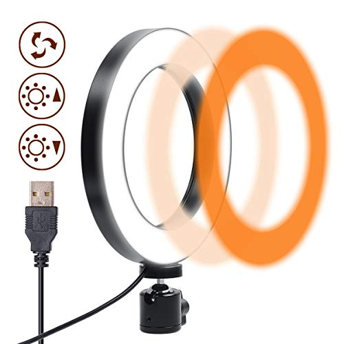 Gemwon Ring Light 6 Inches - 3 Color Lights & 10 Dimmable Brightness,...