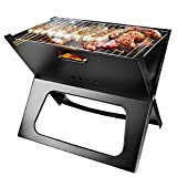 TeqHome Foldable Charcoal Grill, Portable BBQ Barbecue Grill Lightweight Simple Grill for Outdoor Cooking Camping Hiking Picnics Garden Travel