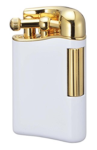 【SAROME限定品】 フリント ガス ライター ガス抜き ピアノホワイト/ゴールド0.2μ PSD12LE-05