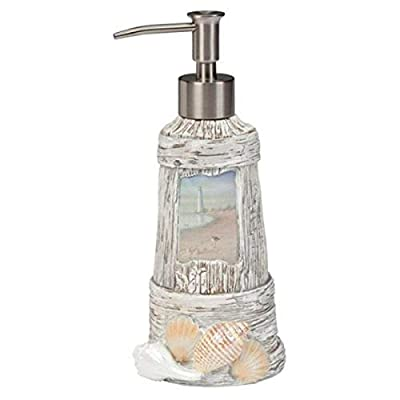 Intricate shell-and-driftwood design Made of resin Durable pump makes for easy dispensing Design frames beautifully detailed landscape Wipes clean with a damp cloth