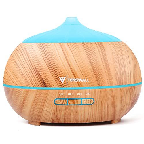 TENSWALL 500ml Aroma Diffuser, Luftbefeuchter Ultraschall Duftlampe mit 7 Farben LED für zuhause, Yoga, Büro, SPA, Schlafzimmer