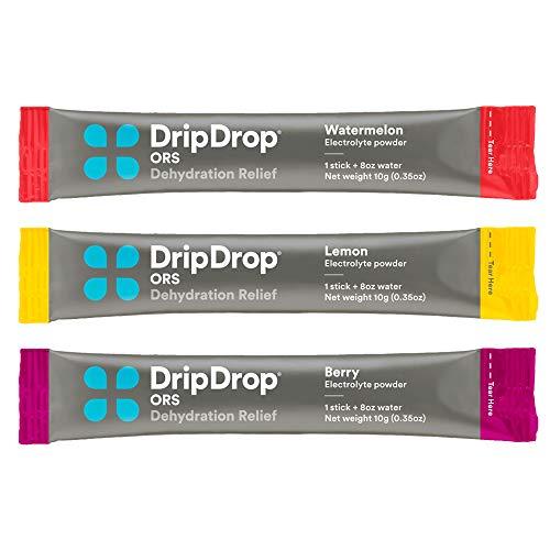 DripDrop ORS Electrolyte Hydration Powder Sticks Variety Pack (12 Lemon/10 Berry/10 Watermelon) 10g Sticks, 32 Count 2