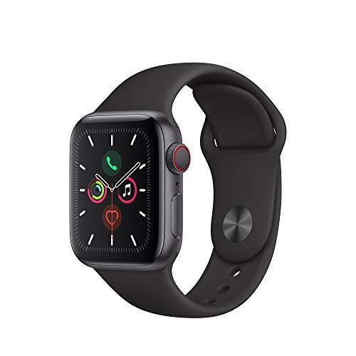 Apple Watch Series 5 (GPS+Cellular, 40 mm) Aluminiumgehäuse Space Grau - Sportarmband Schwarz