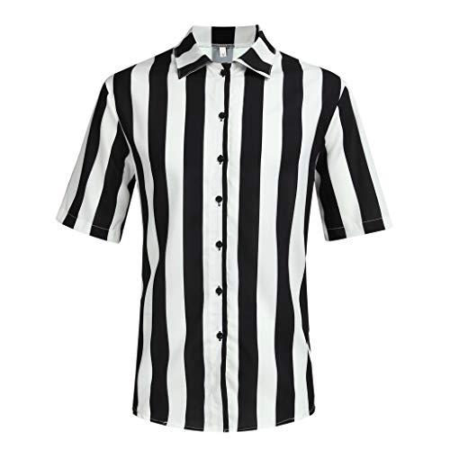 XuanhaFU Polo para Hombre de Manga Corta Casual Solapa Camisa de Gran Tamaño con Estampado de Rayas Blancas y Negras de Hawaii de Beach (Negro,L)