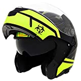 Triangle Motorcycle Helmets Modular Dual Visor Flip Up (X-Large, Matte Black/Yellow)