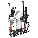 mDesign Over Door Bathroom Hair Care & Hot Styling Tool Organizer Storage Basket for Hair Dryer, Flat Irons, Curling Wands, Hair Straighteners - Hang Inside/Outside Cabinet Doors, 3 Sections - Bronze