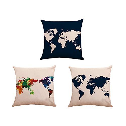 Sencillo Vida Funda Cojine Mapa del Mundo Fundas Cojin, Almohada Cojines Decoracion del Hogar para Dormitorio, Salón, Oficina, Cama, Sofá o Coche