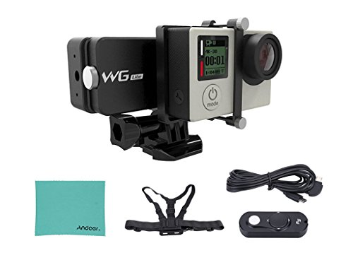Feiyu WG Lite Single Axis Wearable Gimbal Stabilizer for GoPro Hero 4/3+/3 and Other Cameras with Similar Dimensions + Remote Control + Elastic Body Chest Strap + Andoer Cleaning Cloth