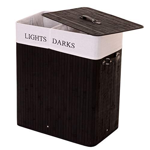 Mendler Wäschekorb HWC-C21, Laundry Wäschebox Wäschesammler Wäschebehälter, Bambus 2 Fächer 63x55x34cm 100l ~ schwarz
