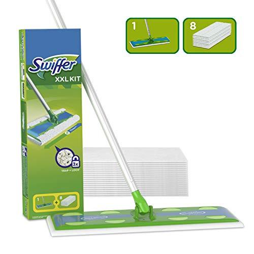 Swiffer Starter Kit XXL Scopa con 1 Manico + 8 Panni di Ricambio, per Catturare E Intrappolare La...