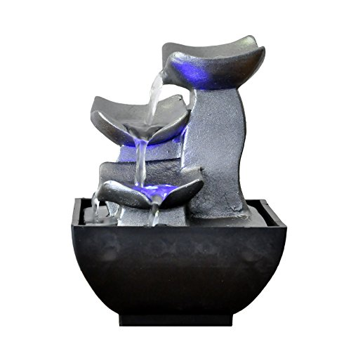 Zen\'Light SCFR1720 Brunnen, Kunstharz, silberfarben, 13 x 13 x 17 cm