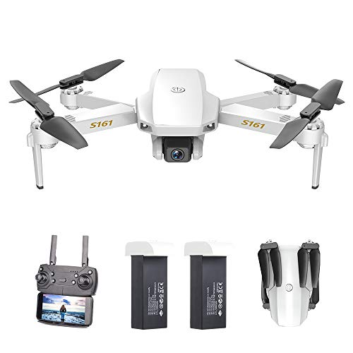Goolsky S161 Mini PRO Drone Drone con Telecamera 4K Flusso Ottico Posizionamento Doppia Fotocamera Altitudine Hold Gesto Foto Video Filp 3D Traccia Volo RC Quadcopter Custodia 2 batterie