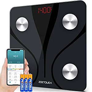Sync With Multi Fitness Apps: Pairing ZOETOUCH Body Fat Scale with 1byone Health App and sync data and account with Google Fit, Apple Health, check and share your weights data anywhere and anytime;You will love this super sleek design and tempered gl...