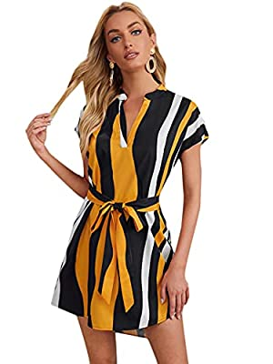 Fabric has non stretch All over print, short sleeve, batwing sleeve, roll up sleeve, high low dress, belted, mini dress Fit for casual wear, office, work out, holiday, dating, weekend, travel, going out, vacation Washing Instruction: Hand wash/machin...