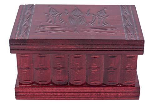 Kalotart - Caja para joyas y rompecabezas, 2 en 1. Caja de madera hecha a mano con llave oculta y compartimentos extraíbles. Hermosa caja con rompecabezas para joyas de madera tallada y corte clásico. ¿Debo guardar tu secreto? Fabricado en 1770