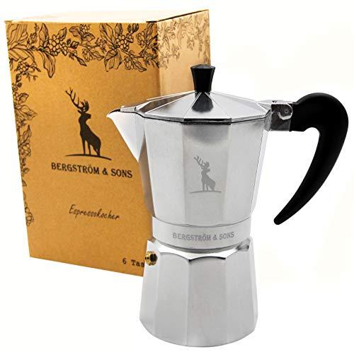 Bergström & Sons Espressokocher | Espressokanne aus Aluminium | Camping Kaffeekocher | Moka-Kanne mit einem Fassungsvolumen von 6 Tassen | Inklusive gratis Hanf Bag | Enjoy The Moment