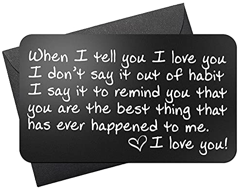 Wallet Card Love Note | Engraved Aluminum Anniversary Gifts...