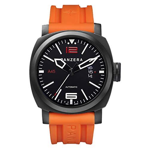 Panzera Aquamarin Pacific Sunset Diver Automatik Stahl Schwarz Orange Datum Silikon Herren Uhr