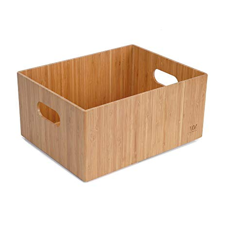 Bamboo Storage Box Multi-Purpose Organizer for Kitchen Supplies Holder, Fruit Bin, Cabinets, Pantry with built in...