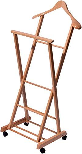 Klappbarer Herrendiener aus Holz auf Vier Rollen, Stummer Diener, Buche Lackiert, 33 x 41 x 104 cm, hellbraun