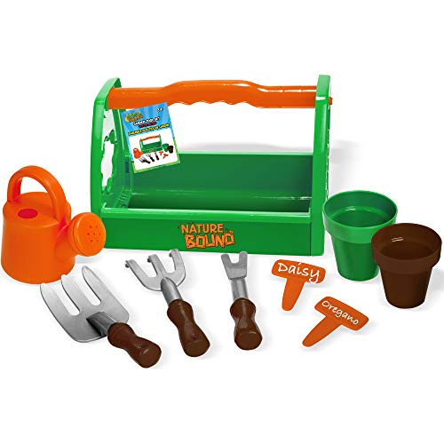 Nature Bound Toys Kids Garden Tool Set with Planters, Water Bucket, Rakes, Caddy, 9Piece Set