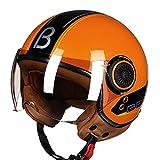 Adult Open Face Motorcycle Helmet for Men Women, Chopper Cruiser Motorbike Crash Helmet, DOT/ECE Approved Retro 3/4 Half Helmet for Motocross Vespa Moped,Orange,M