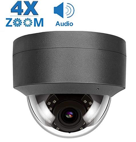 Telecamera IP POE 5 MP Zoom ottico 4X, Rilevazione di movimento audio Telecamera di sicurezza IP CCTV Visione notturna a infrarossi, Onvif Resistente alle intemperie all'aperto H.265/H.264