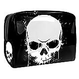 Kit de Maquillaje Neceser Cráneo Blanco Negro Make Up Bolso de Cosméticos Portable Organizador Maletín para Maquillaje Maleta de Makeup Profesional 18.5x7.5x13cm