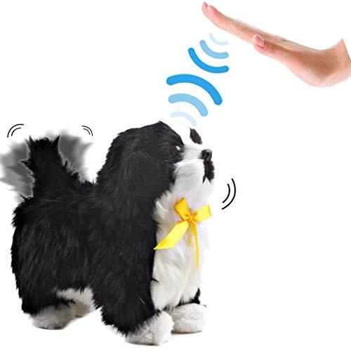 deAO Chien Électronique Interactif Qui Aboie, Marche, Agite la Queue, Reconnaissance Tactile (Noir)