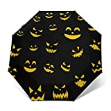 Paraguas plegable impermeable resistente al sol para viajes, para mujeres, hombres y niños, mango ergonómico, botón de apertura y cierre automático, paraguas de calabazas de Halloween