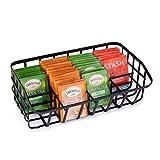 Baflan Tea Bag Organizer Caddy - Tea Box Storage Holder for Tea, Cups, Pods, Packets, Condiment Accessories - Black