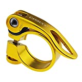 Aluminum Alloy Bicycle Quick Release Seatpost Clamp Universal for Mountain Bike Road Bike Fixed Gear Bike BMX Folding Bike Replacement Part Accessory (Gold)