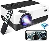 Vidéoprojecteur WiFi Supporte 1080P Full HD 6000 Lumens Rétroprojecteur Screen Mirroring , Gobran Miroir de l'écran Audio Projecteur Home Cinéma...