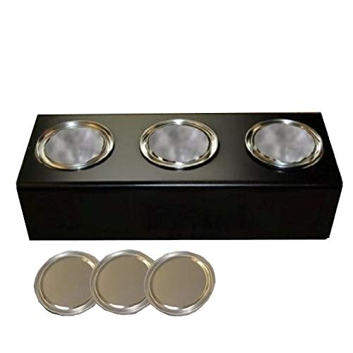 Black metal stand with 0.5 litre ethanol fuel cans and ceramic sponges