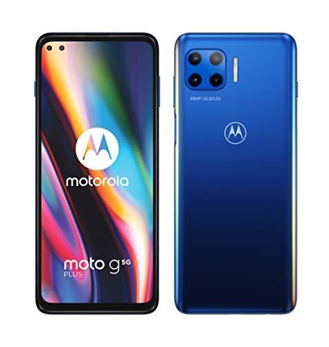 "Motorola Moto G 5G Plus - Smartphone de 6.7"" (5G FHD+, procesador Qualcomm Snapdragon SD765, Sistema de 4 cámaras de 48 MP, batería de 5000 mAH, Dual SIM, 4/64 GB, Android 10), Azul"