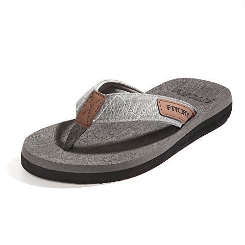 FITORY Men's Flip-Flops, Thongs Sandals Comfort Slippers for Beach Grey Size 11