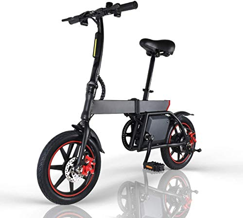 Windway Electric Bike Folding E-bike for adults, 14inch Wheel, Pedal Assist Commuter Cycling Bicycle, Max Speed 25km/h, Motor 350W, 6Ah Rechargeable Lithium Battery (black 2)